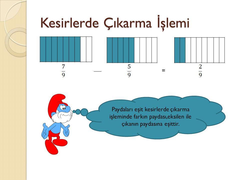 Kesirlerde Çıkarma İ şlemi = Paydaları eşit kesirlerde çıkarma işleminde farkın paydası,eksilen ile çıkanın paydasına eşittir.