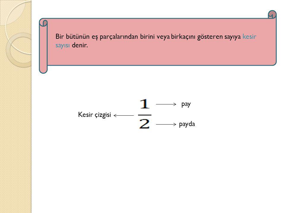 Kesir çizgisi pay payda Bir bütünün eş parçalarından birini veya birkaçını gösteren sayıya kesir sayısı denir.