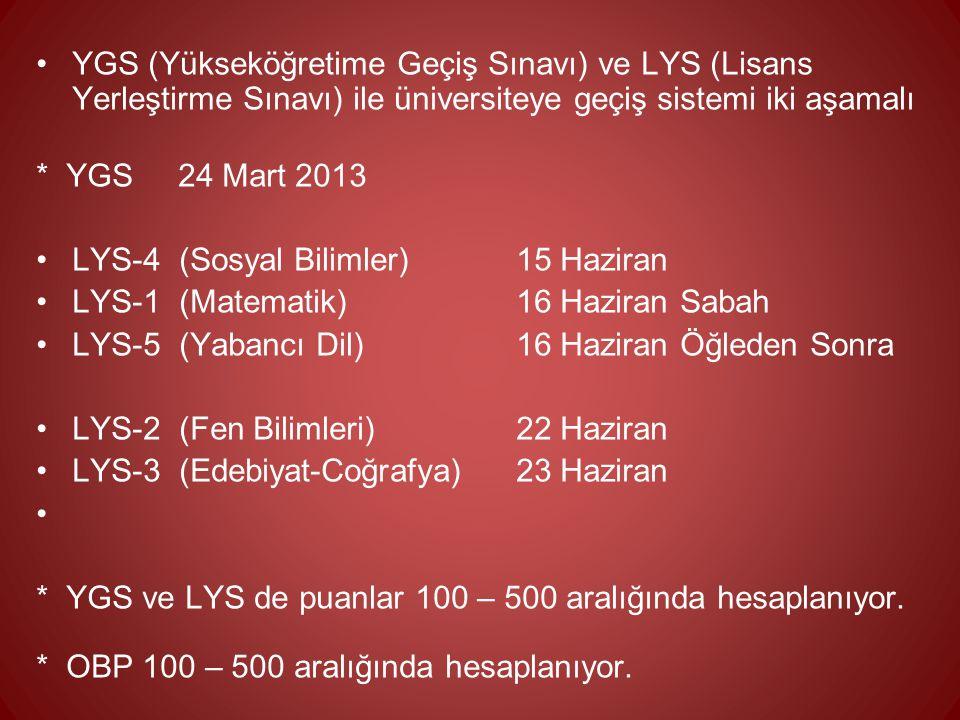 YGS (Yükseköğretime Geçiş Sınavı) ve LYS (Lisans Yerleştirme Sınavı) ile üniversiteye geçiş sistemi iki aşamalı * YGS 24 Mart 2013 LYS-4 (Sosyal Bilim
