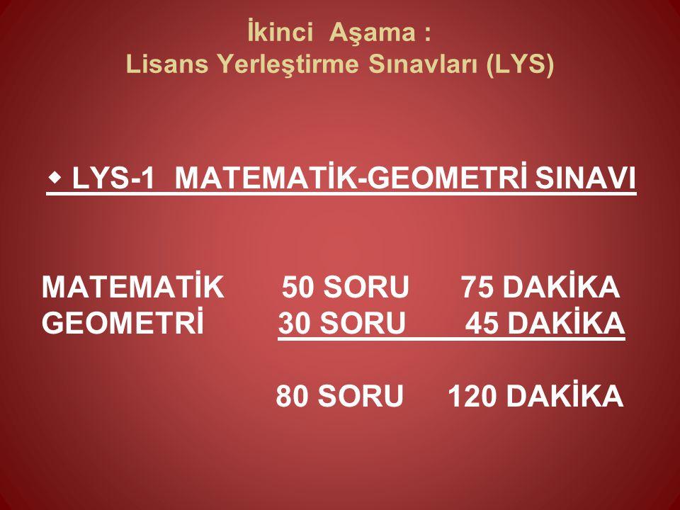  LYS-1 MATEMATİK-GEOMETRİ SINAVI MATEMATİK 50 SORU 75 DAKİKA GEOMETRİ 30 SORU 45 DAKİKA 80 SORU 120 DAKİKA