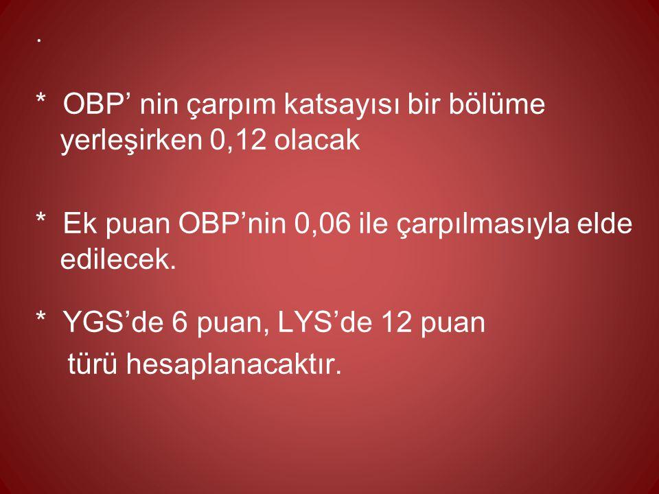 . * OBP' nin çarpım katsayısı bir bölüme yerleşirken 0,12 olacak * Ek puan OBP'nin 0,06 ile çarpılmasıyla elde edilecek. * YGS'de 6 puan, LYS'de 12 pu