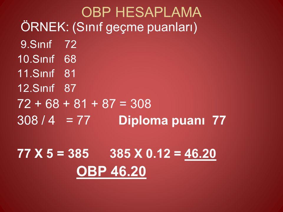 OBP HESAPLAMA ÖRNEK: (Sınıf geçme puanları) 9.Sınıf 72 10.Sınıf 68 11.Sınıf 81 12.Sınıf 87 72 + 68 + 81 + 87 = 308 308 / 4 = 77 Diploma puanı 77 77 X