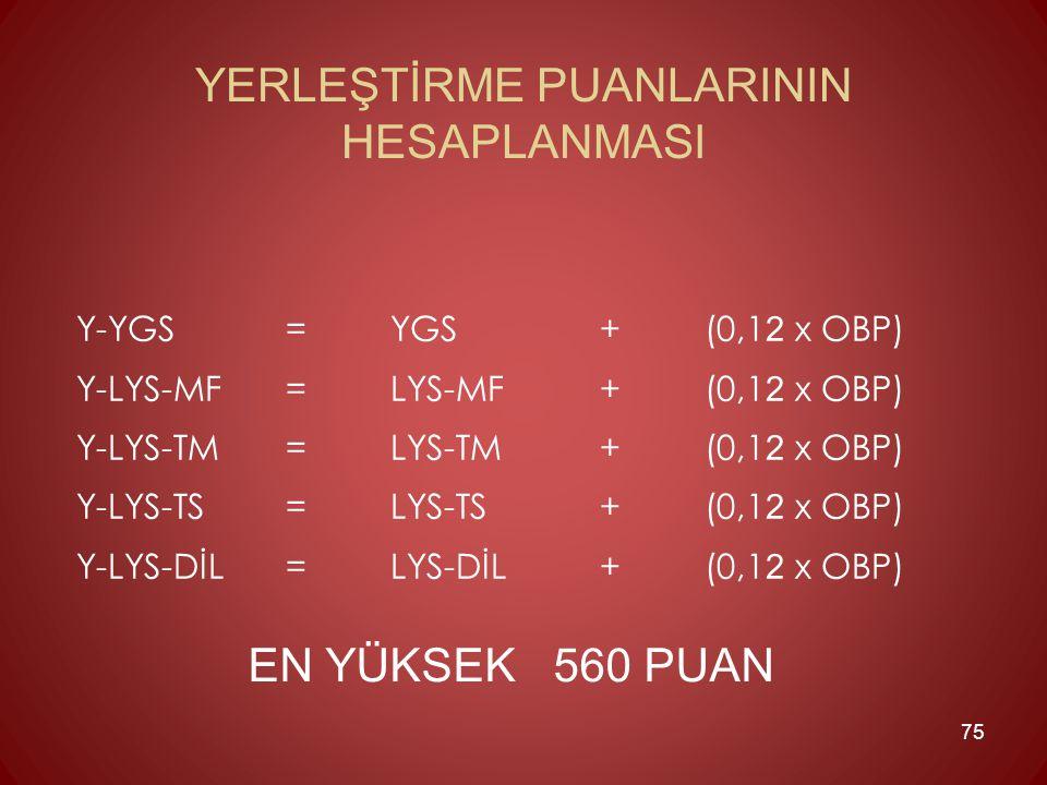 Y-YGS =YGS + (0,1 2 x OBP) Y-LYS-MF =LYS-MF + (0,1 2 x OBP) Y-LYS-TM =LYS-TM + (0,1 2 x OBP) Y-LYS-TS =LYS-TS + (0,1 2 x OBP) Y-LYS-DİL =LYS-DİL + (0,