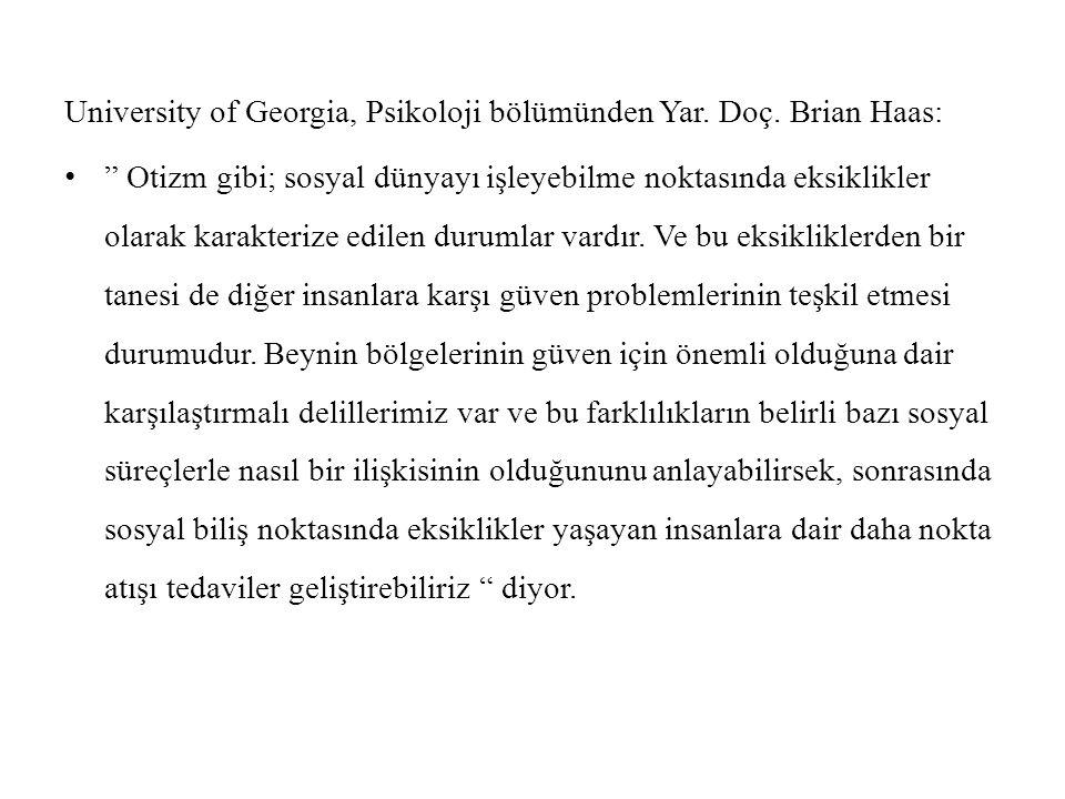 University of Georgia, Psikoloji bölümünden Yar. Doç.