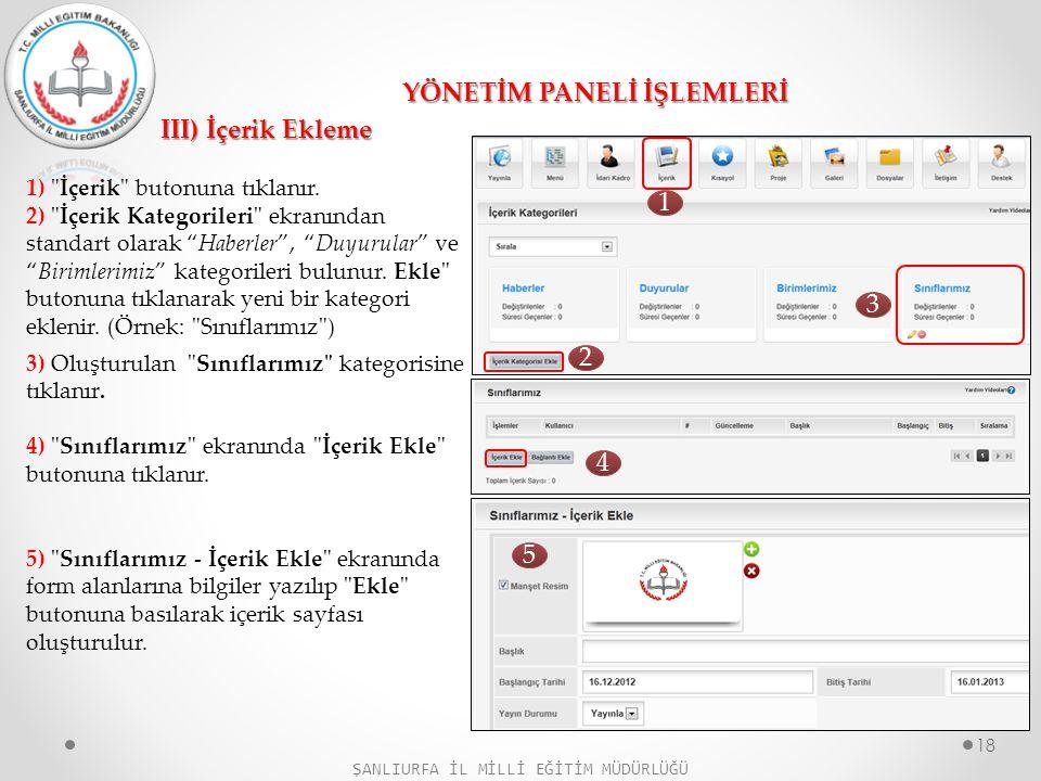 YÖNETİM PANELİ İŞLEMLERİ III) İçerik Ekleme 1)