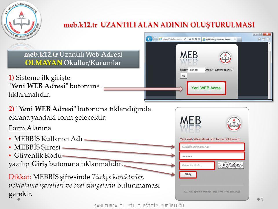 3) HESAP OLUŞTUR Formunda; Alan Adı: Sitenize vermek istediğiniz web sitesi adı yazılır.