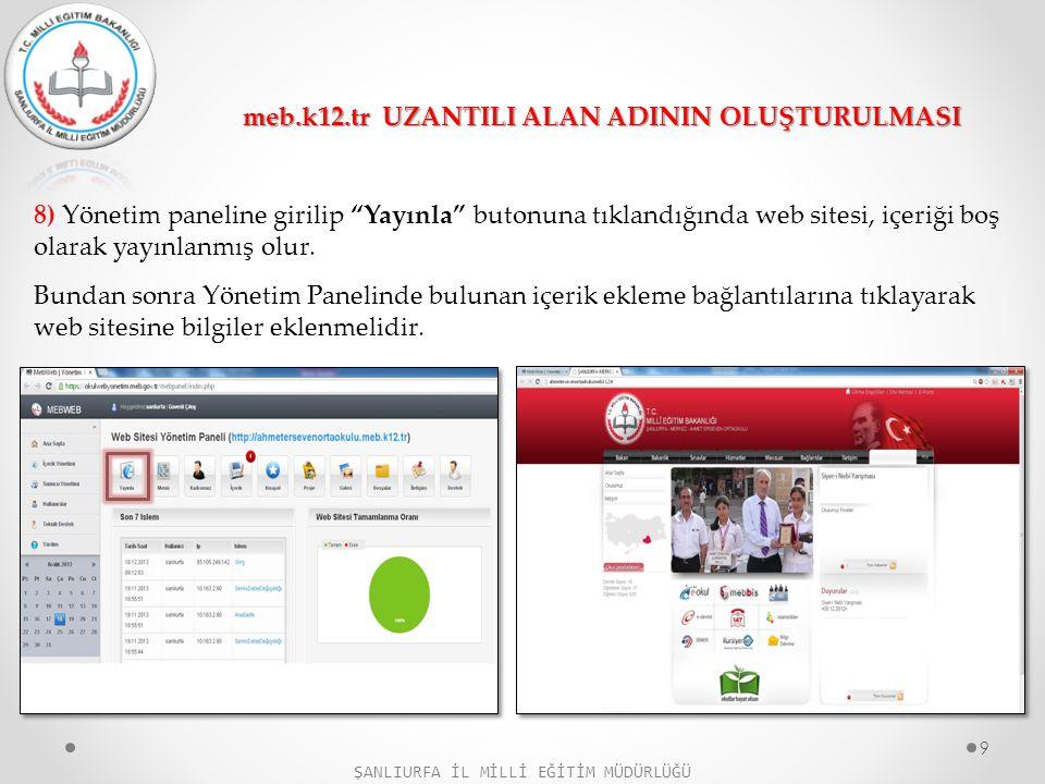 """8) Yönetim paneline girilip """"Yayınla"""" butonuna tıklandığında web sitesi, içeriği boş olarak yayınlanmış olur. Bundan sonra Yönetim Panelinde bulunan i"""