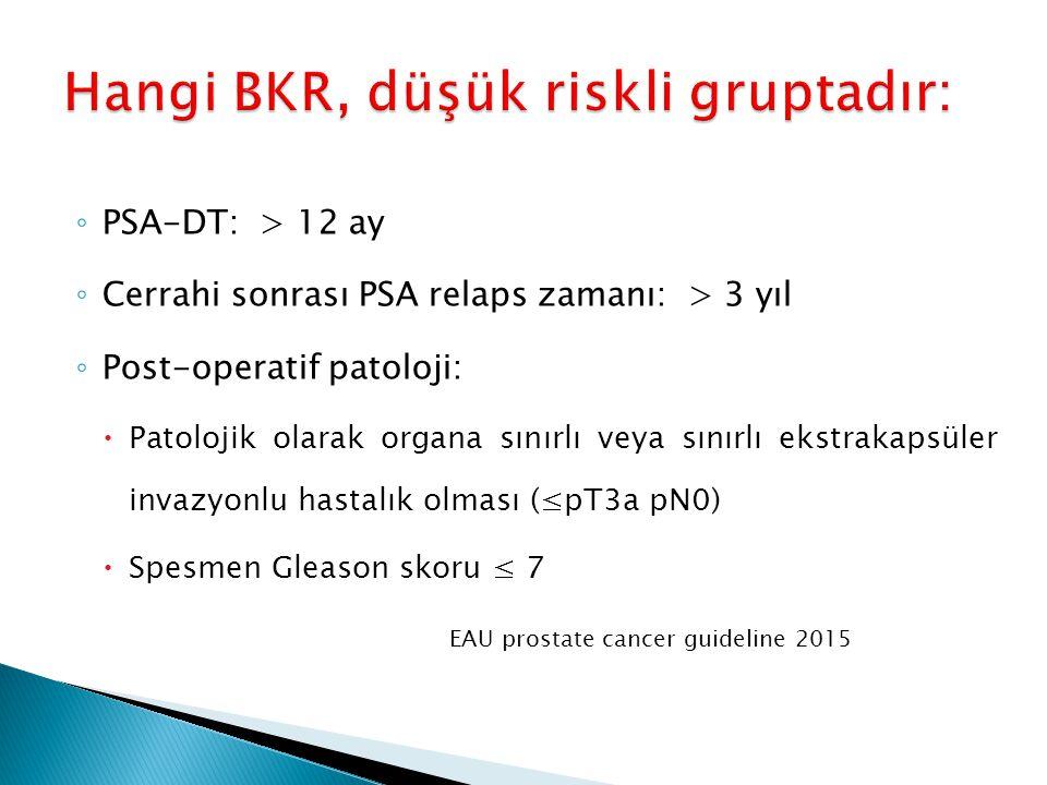 ◦ PSA-DT: > 12 ay ◦ Cerrahi sonrası PSA relaps zamanı: > 3 yıl ◦ Post-operatif patoloji:  Patolojik olarak organa sınırlı veya sınırlı ekstrakapsüler
