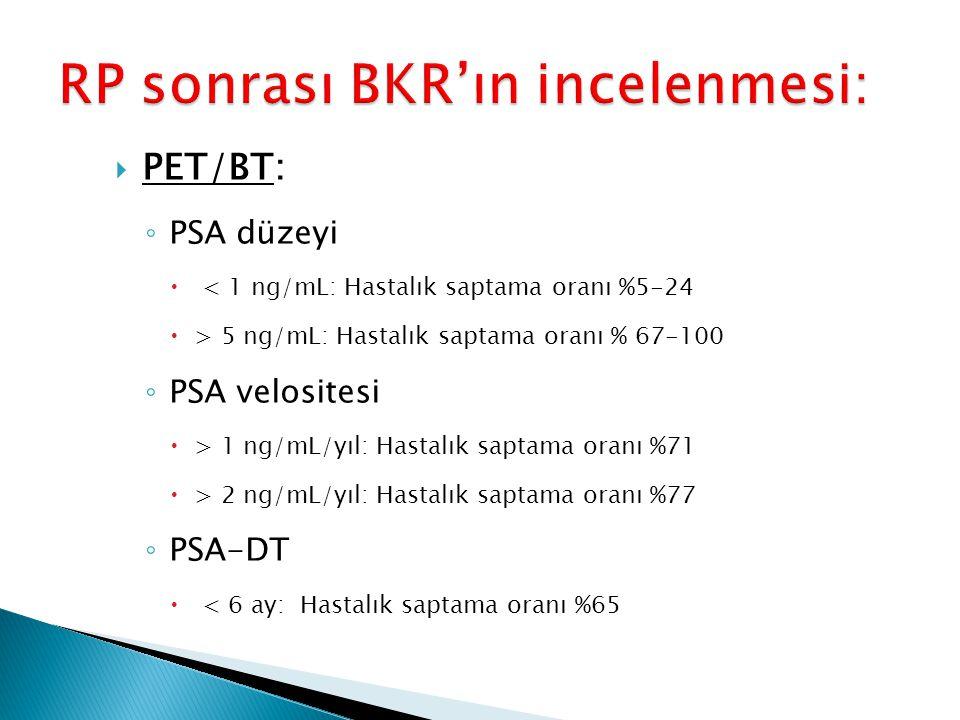  PET/BT: ◦ PSA düzeyi  < 1 ng/mL: Hastalık saptama oranı %5-24  > 5 ng/mL: Hastalık saptama oranı % 67-100 ◦ PSA velositesi  > 1 ng/mL/yıl: Hastal