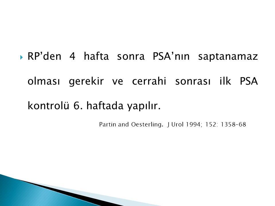  RP'den 4 hafta sonra PSA'nın saptanamaz olması gerekir ve cerrahi sonrası ilk PSA kontrolü 6. haftada yapılır. Partin and Oesterling. J Urol 1994; 1