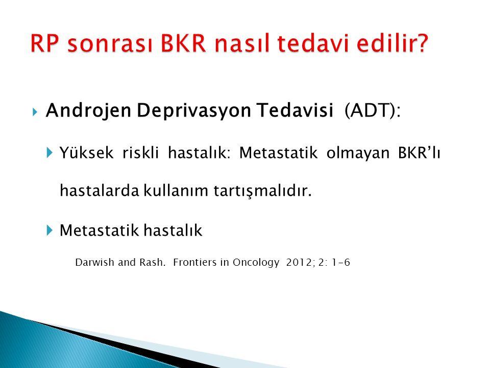  Androjen Deprivasyon Tedavisi (ADT):  Yüksek riskli hastalık: Metastatik olmayan BKR'lı hastalarda kullanım tartışmalıdır.  Metastatik hastalık Da