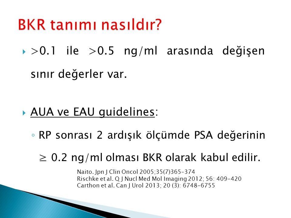  >0.1 ile >0.5 ng/ml arasında değişen sınır değerler var.  AUA ve EAU guidelines: ◦ RP sonrası 2 ardışık ölçümde PSA değerinin ≥ 0.2 ng/ml olması BK