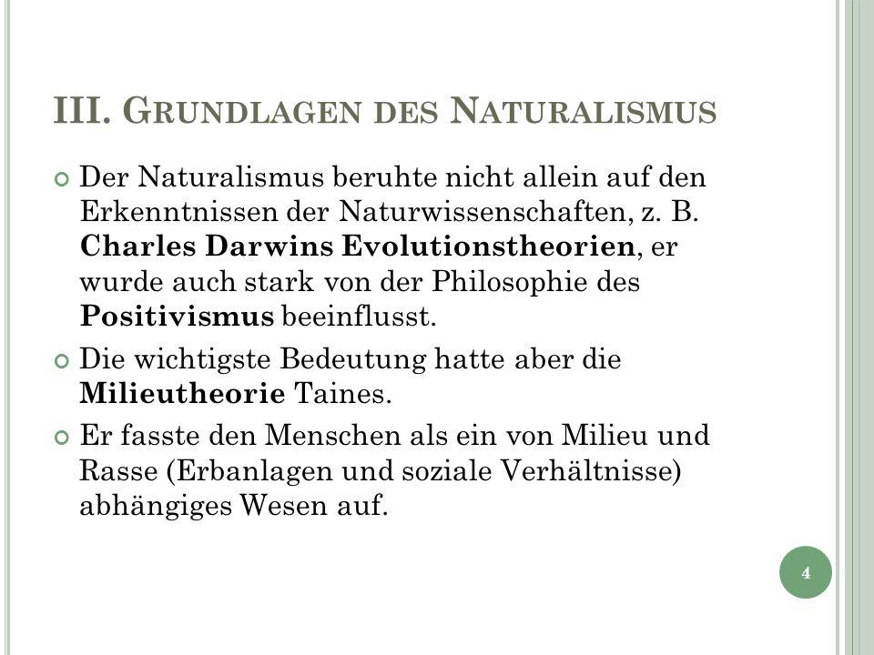 III. G RUNDLAGEN DES N ATURALISMUS Der Naturalismus beruhte nicht allein auf den Erkenntnissen der Naturwissenschaften, z. B. Charles Darwins Evolutio