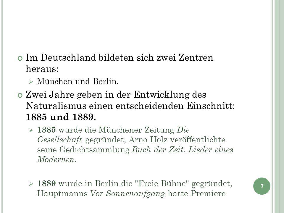 Im Deutschland bildeten sich zwei Zentren heraus:  München und Berlin. Zwei Jahre geben in der Entwicklung des Naturalismus einen entscheidenden Eins