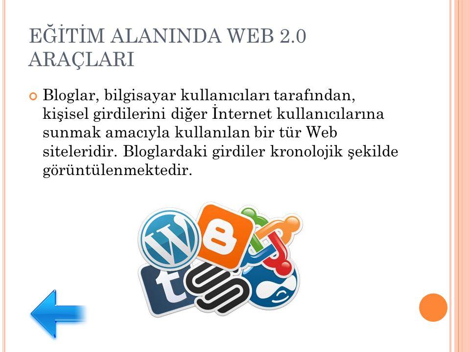 EĞİTİM ALANINDA WEB 2.0 ARAÇLARI Bloglar, bilgisayar kullanıcıları tarafından, kişisel girdilerini diğer İnternet kullanıcılarına sunmak amacıyla kullanılan bir tür Web siteleridir.