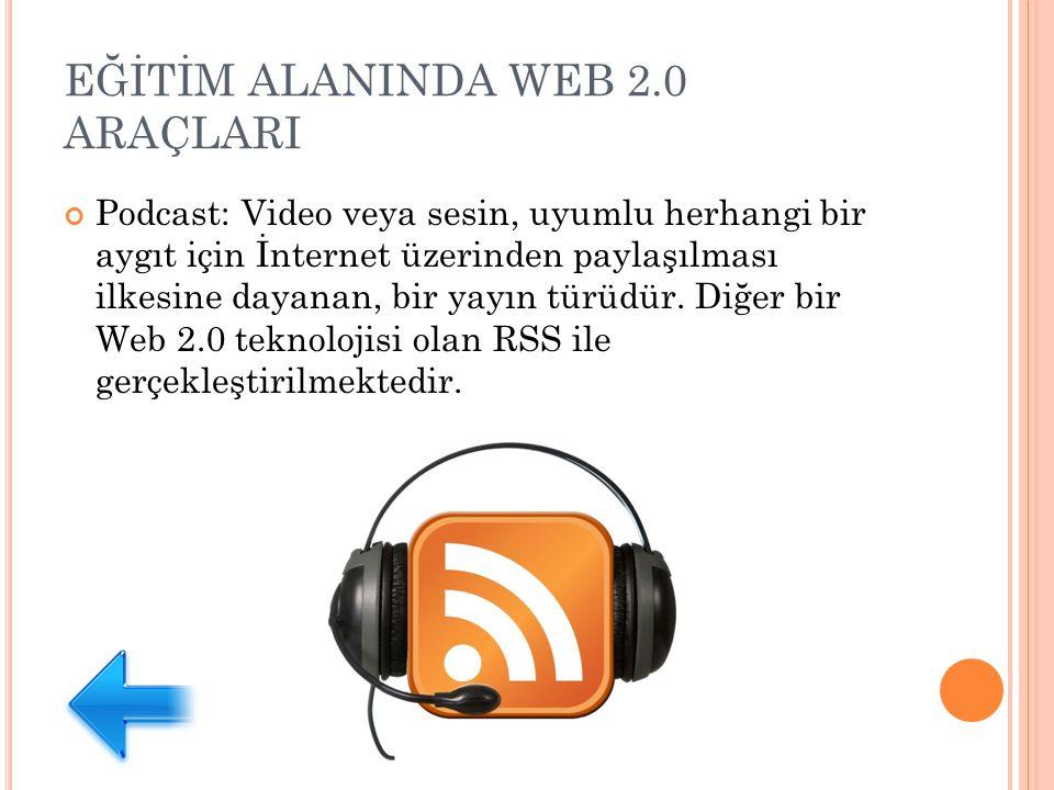 EĞİTİM ALANINDA WEB 2.0 ARAÇLARI Podcast: Video veya sesin, uyumlu herhangi bir aygıt için İnternet üzerinden paylaşılması ilkesine dayanan, bir yayın türüdür.