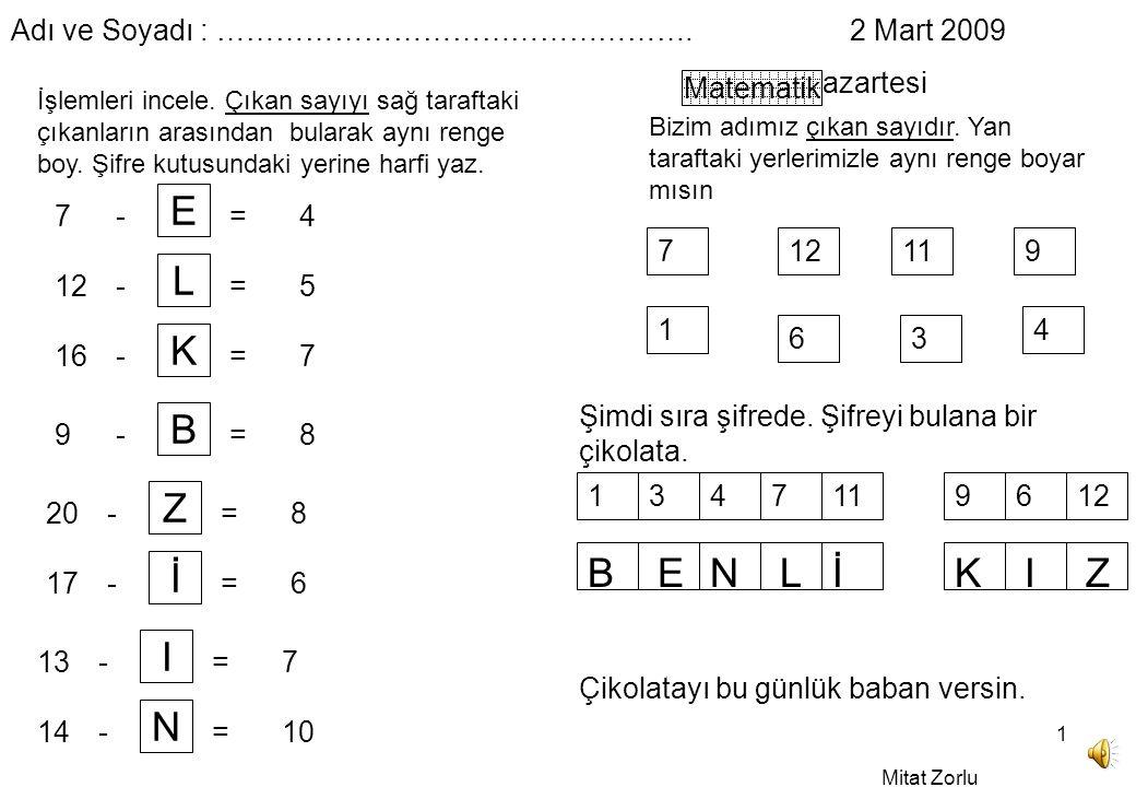 Mitat Zorlu 1 Adı ve Soyadı : ………………………………………….2 Mart 2009 Pazartesi Matematik İşlemleri incele.