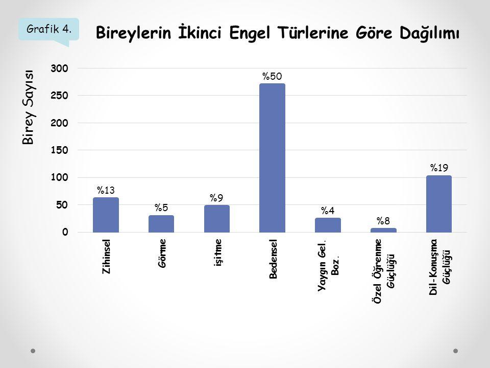 Grafik 4. Bireylerin İkinci Engel Türlerine Göre Dağılımı Birey Sayısı