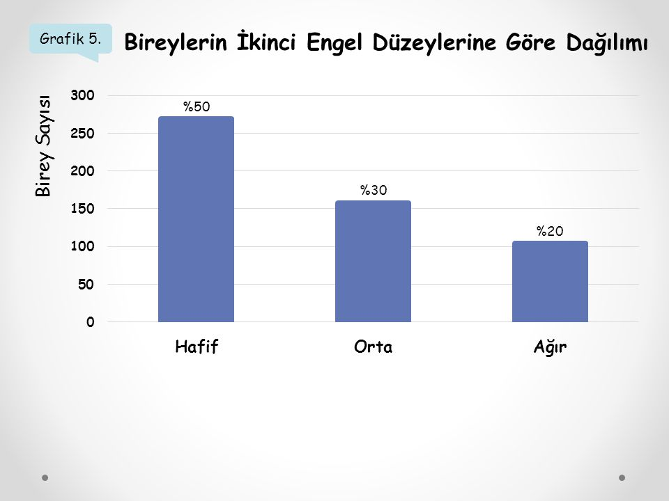 Grafik 5. Bireylerin İkinci Engel Düzeylerine Göre Dağılımı Birey Sayısı