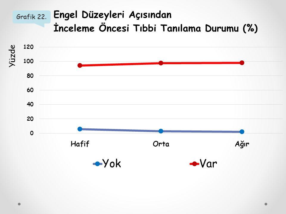 Grafik 22. Engel Düzeyleri Açısından İnceleme Öncesi Tıbbi Tanılama Durumu (%) Yüzde