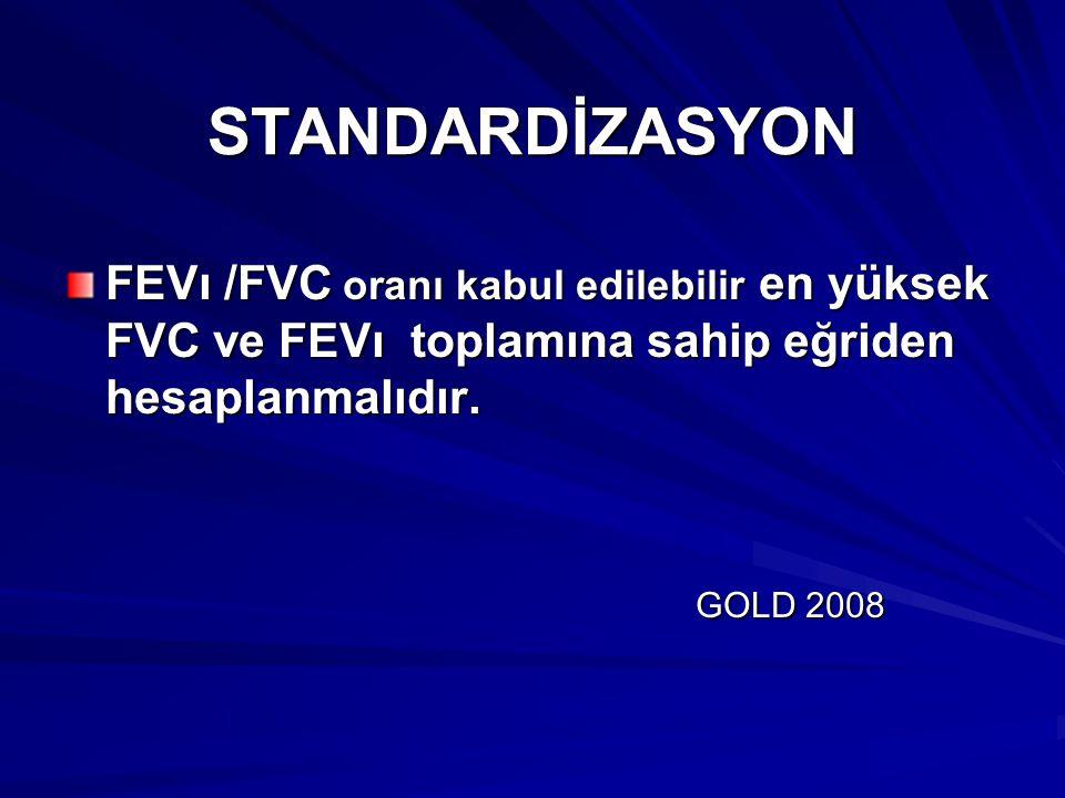 STANDARDİZASYON FEVı /FVC oranı kabul edilebilir en yüksek FVC ve FEVı toplamına sahip eğriden hesaplanmalıdır. GOLD 2008 GOLD 2008