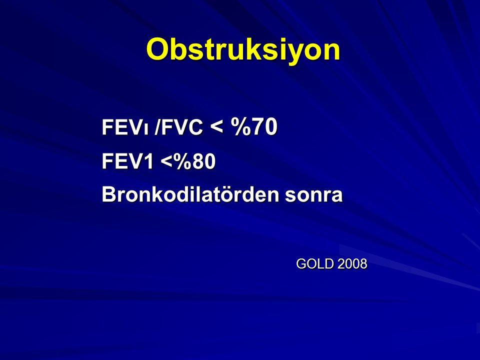 Obstruksiyon FEVı /FVC < %70 FEV1 <%80 Bronkodilatörden sonra GOLD 2008 GOLD 2008