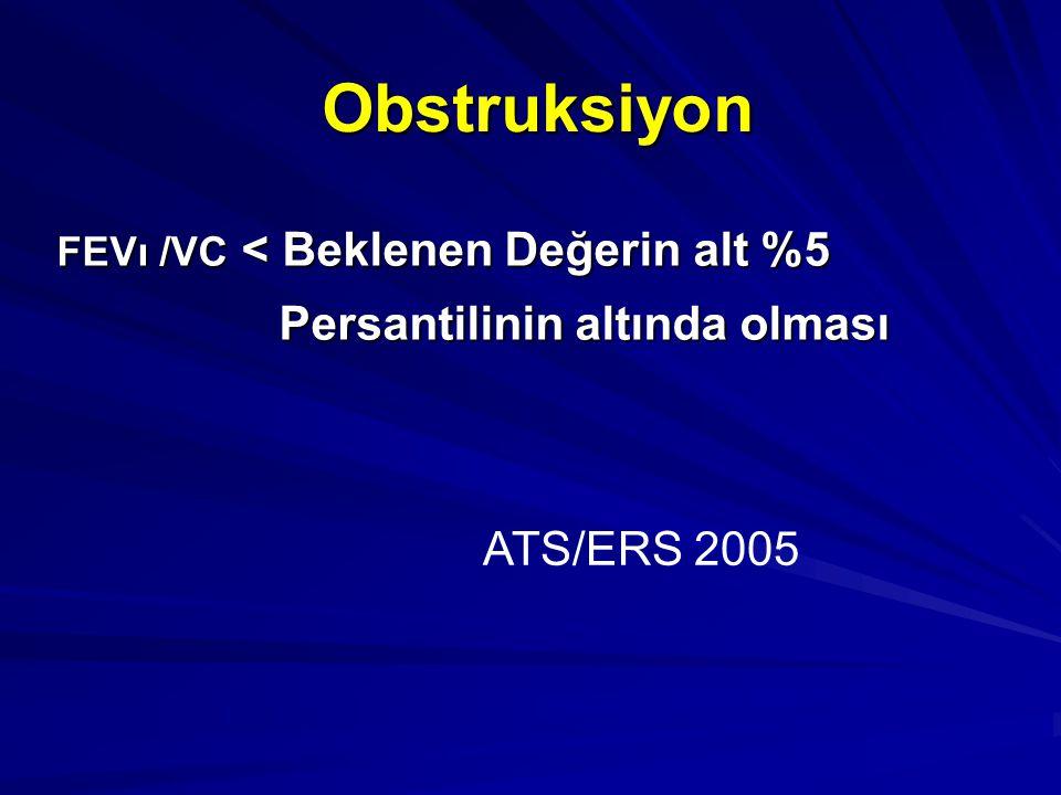 Obstruksiyon FEVı /VC < Beklenen Değerin alt %5 Persantilinin altında olması Persantilinin altında olması ATS/ERS 2005