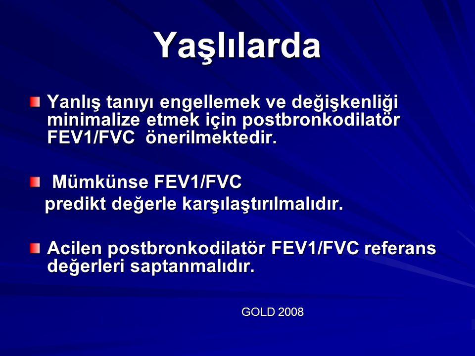 Yaşlılarda Yanlış tanıyı engellemek ve değişkenliği minimalize etmek için postbronkodilatör FEV1/FVC önerilmektedir. Mümkünse FEV1/FVC Mümkünse FEV1/F