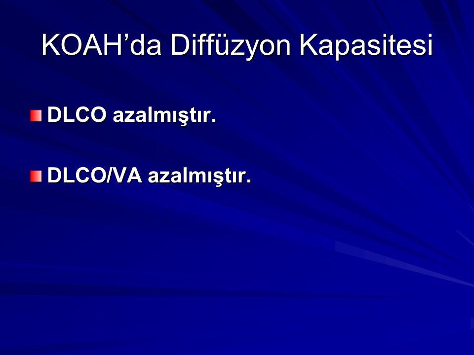 KOAH'da Diffüzyon Kapasitesi DLCO azalmıştır. DLCO/VA azalmıştır.