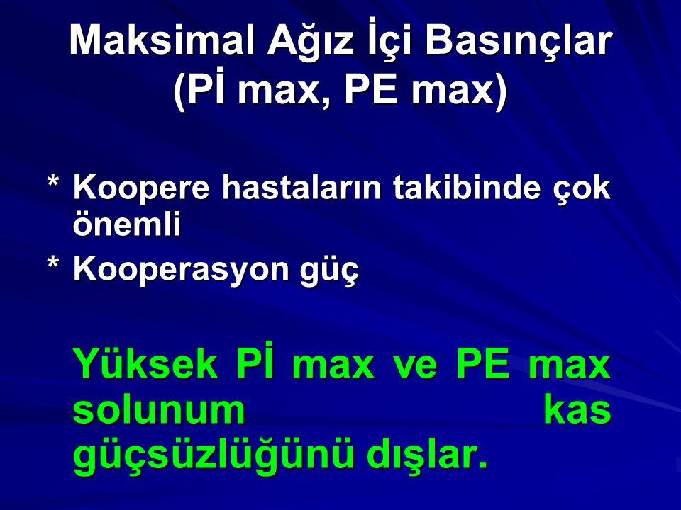 Maksimal Ağız İçi Basınçlar (Pİ max, PE max) *Koopere hastaların takibinde çok önemli *Kooperasyon güç Yüksek Pİ max ve PE max solunum kas güçsüzlüğün