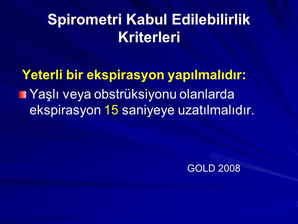 Spirometri Tekrar Edilebilirlik Kriterleri En iyi FVC ve FEVı arasındaki fark %5 veya 100ml'den az olmalı GOLD 2008 GOLD 2008