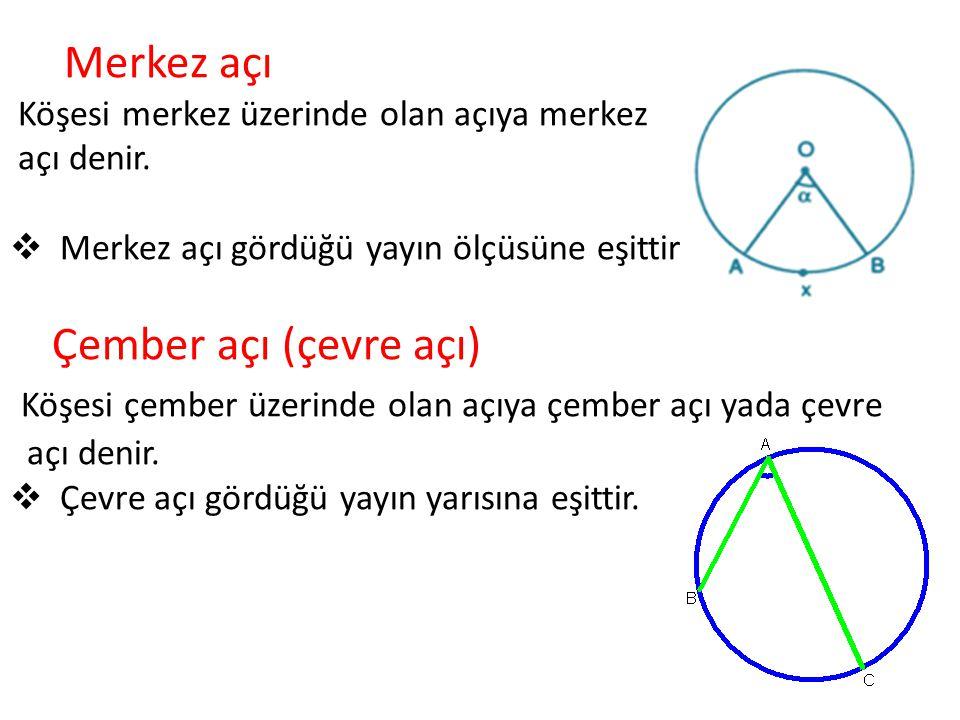 Merkez açı Köşesi merkez üzerinde olan açıya merkez açı denir.  Merkez açı gördüğü yayın ölçüsüne eşittir Çember açı (çevre açı) Köşesi çember üzerin