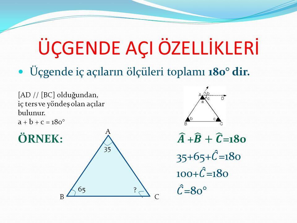 ÜÇGENDE AÇI ÖZELLİKLERİ [AD // [BC] olduğundan, iç ters ve yöndeş olan açılar bulunur. a + b + c = 180° A BC 35 65 ?