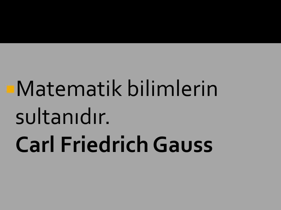  Matematik bilimlerin sultanıdır. Carl Friedrich Gauss