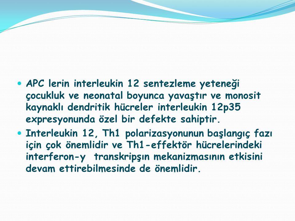 APC lerin interleukin 12 sentezleme yeteneği çocukluk ve neonatal boyunca yavaştır ve monosit kaynaklı dendritik hücreler interleukin 12p35 expresyonunda özel bir defekte sahiptir.