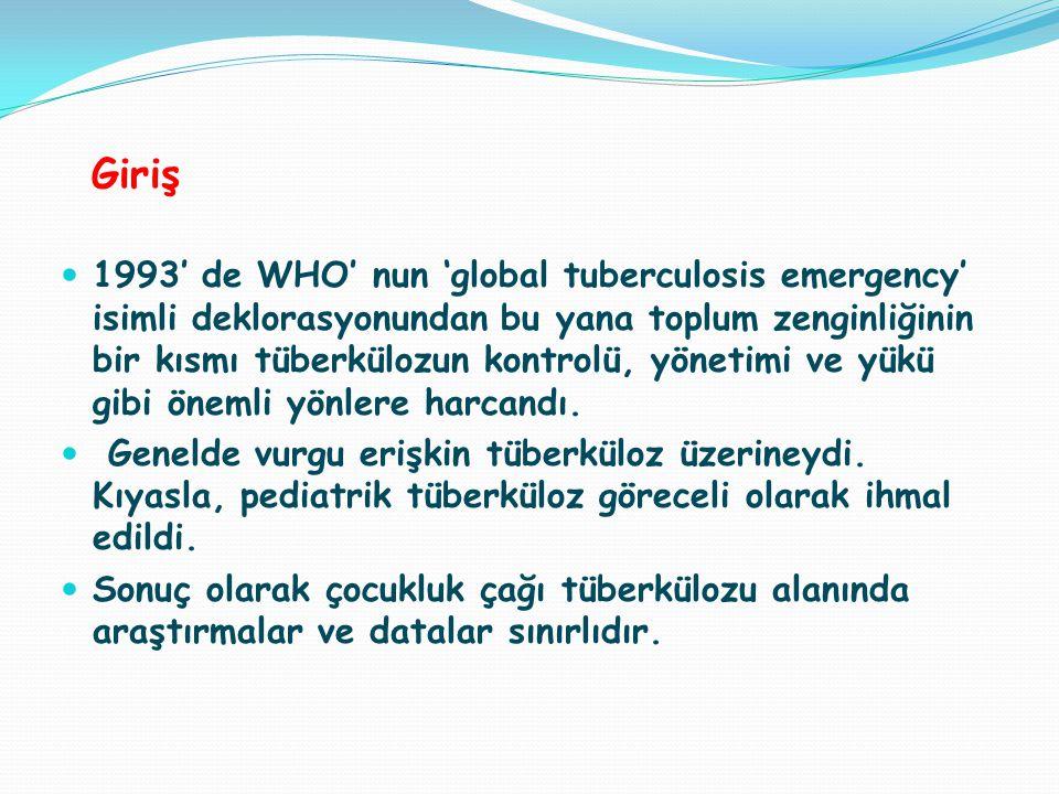 Giriş 1993' de WHO' nun 'global tuberculosis emergency' isimli deklorasyonundan bu yana toplum zenginliğinin bir kısmı tüberkülozun kontrolü, yönetimi ve yükü gibi önemli yönlere harcandı.