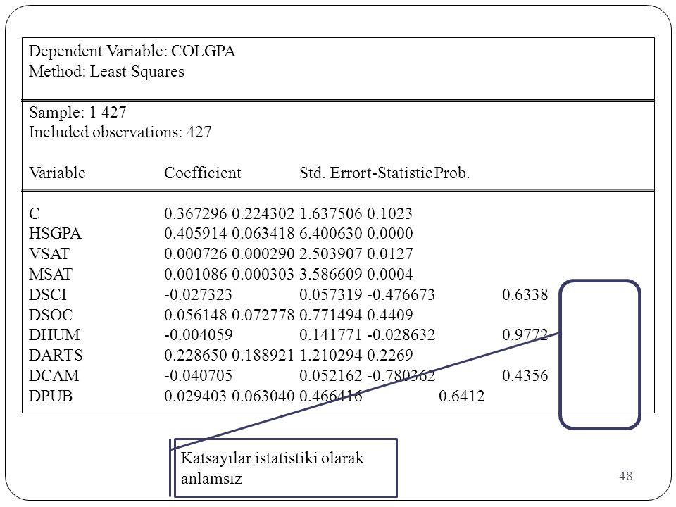 48 Dependent Variable: COLGPA Method: Least Squares Sample: 1 427 Included observations: 427 VariableCoefficientStd. Errort-StatisticProb. C0.3672960.