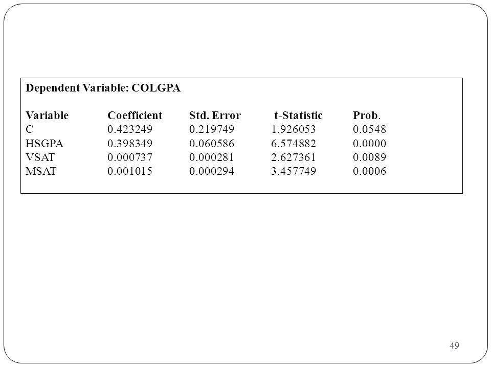 49 Dependent Variable: COLGPA VariableCoefficient Std. Error t-Statistic Prob. C0.4232490.2197491.9260530.0548 HSGPA0.3983490.0605866.5748820.0000 VSA