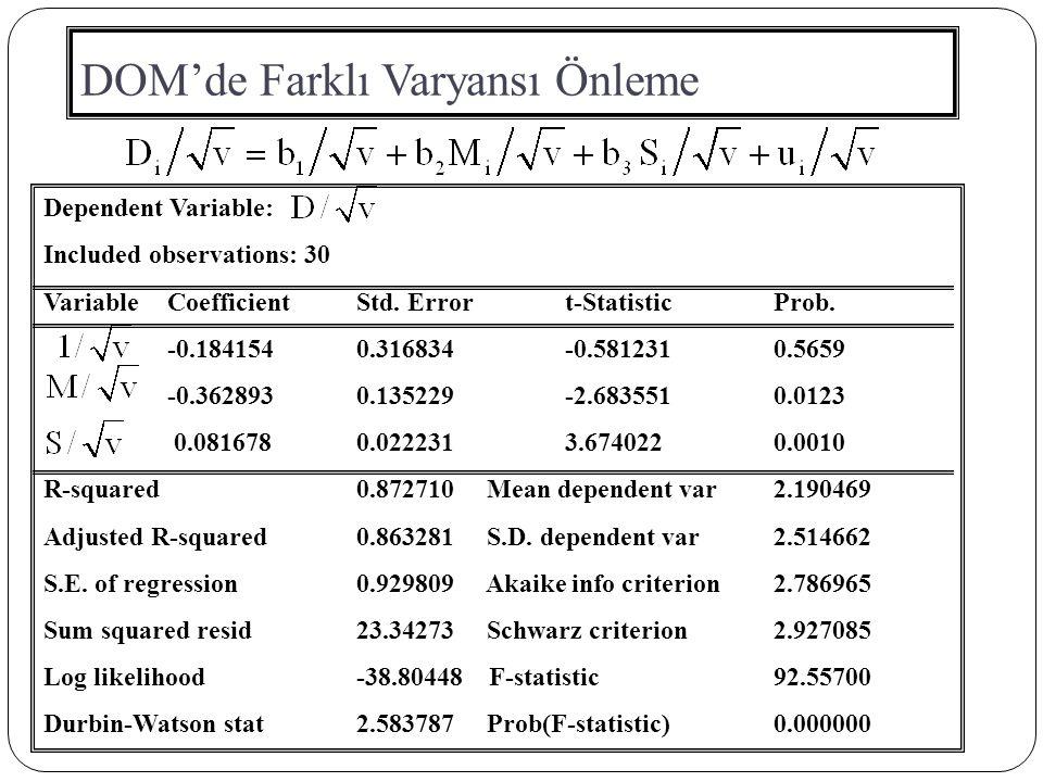 DOM'de Farklı Varyansı Önleme Dependent Variable: Included observations: 30 Variable CoefficientStd. Errort-StatisticProb. -0.1841540.316834-0.5812310