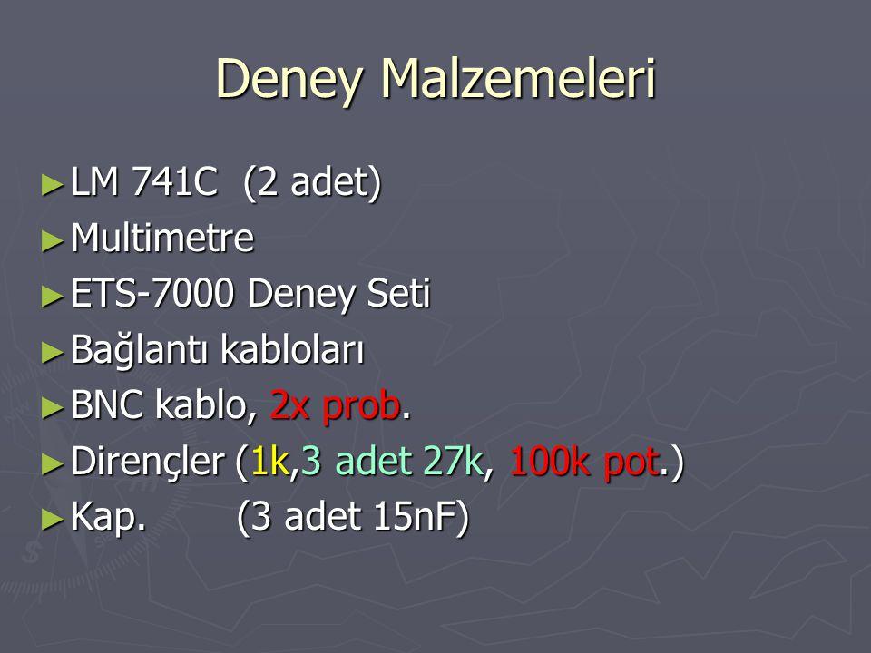 1. Deney Ug=10 V (p-p)  =180 o f=? f=....... |Uo/Ug|=........ 15n 27k