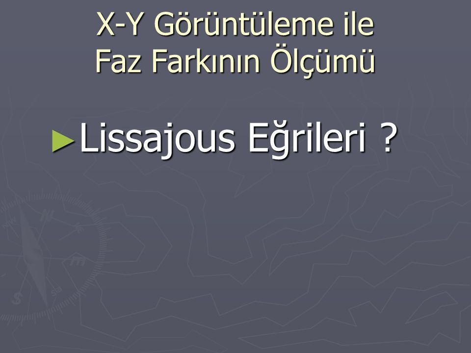 X-Y Görüntüleme ile Faz Farkının Ölçümü ► Lissajous Eğrileri ?