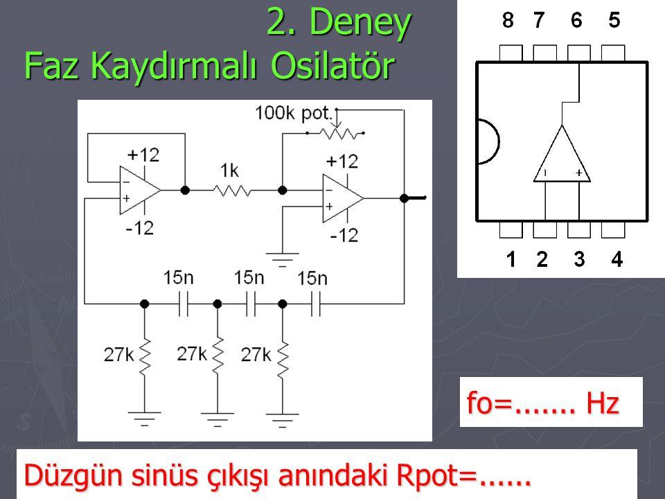 2. Deney Faz Kaydırmalı Osilatör 2. Deney Faz Kaydırmalı Osilatör Düzgün sinüs çıkışı anındaki Rpot=...... fo=....... Hz