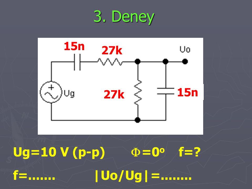3. Deney Ug=10 V (p-p)  =0 o f=? f=....... |Uo/Ug|=........ 15n 27k