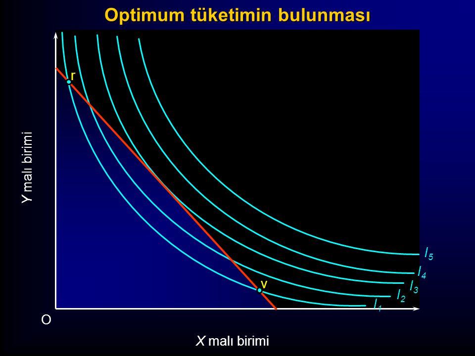 I1I1 I2I2 I3I3 I4I4 I5I5 Y malı birimi O X malı birimi r s v u Optimum tüketimin bulunması