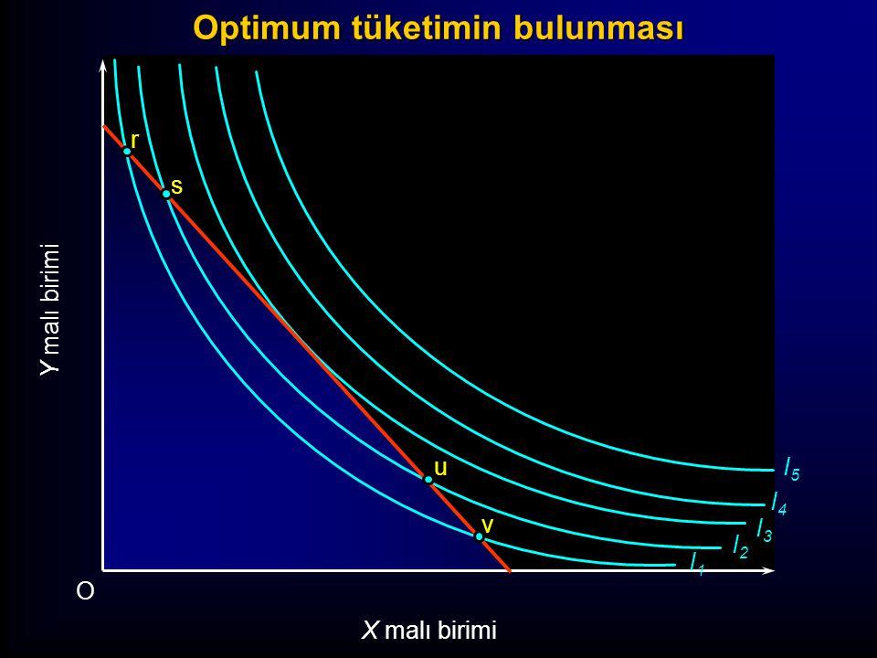 I1I1 I2I2 I3I3 I4I4 I5I5 Y malı birimi O X malı birimi r s t v u Optimum tüketimin bulunması