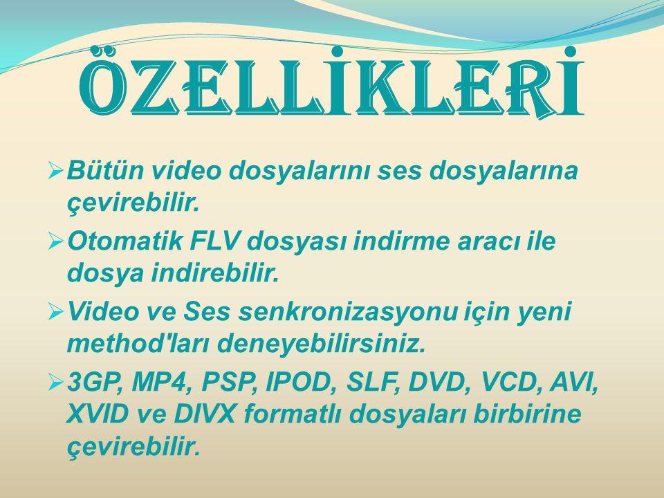 Özell İ kler İ  Bütün video dosyalarını ses dosyalarına çevirebilir.