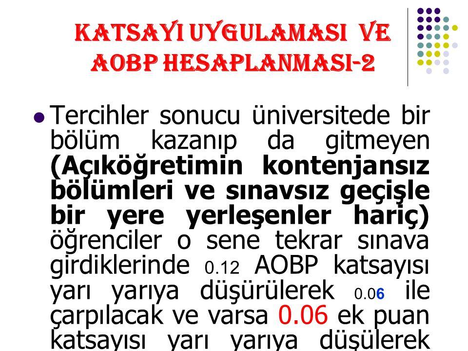 KATSAYI UYGULAMASI VE AOBP HESAPLANMASI-2 Tercihler sonucu üniversitede bir bölüm kazanıp da gitmeyen (Açıköğretimin kontenjansız bölümleri ve sınavsı
