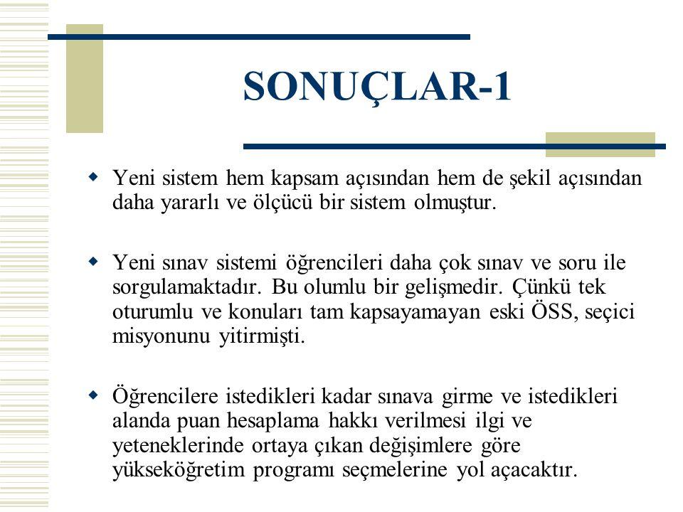 SONUÇLAR-1  Yeni sistem hem kapsam açısından hem de şekil açısından daha yararlı ve ölçücü bir sistem olmuştur.  Yeni sınav sistemi öğrencileri daha