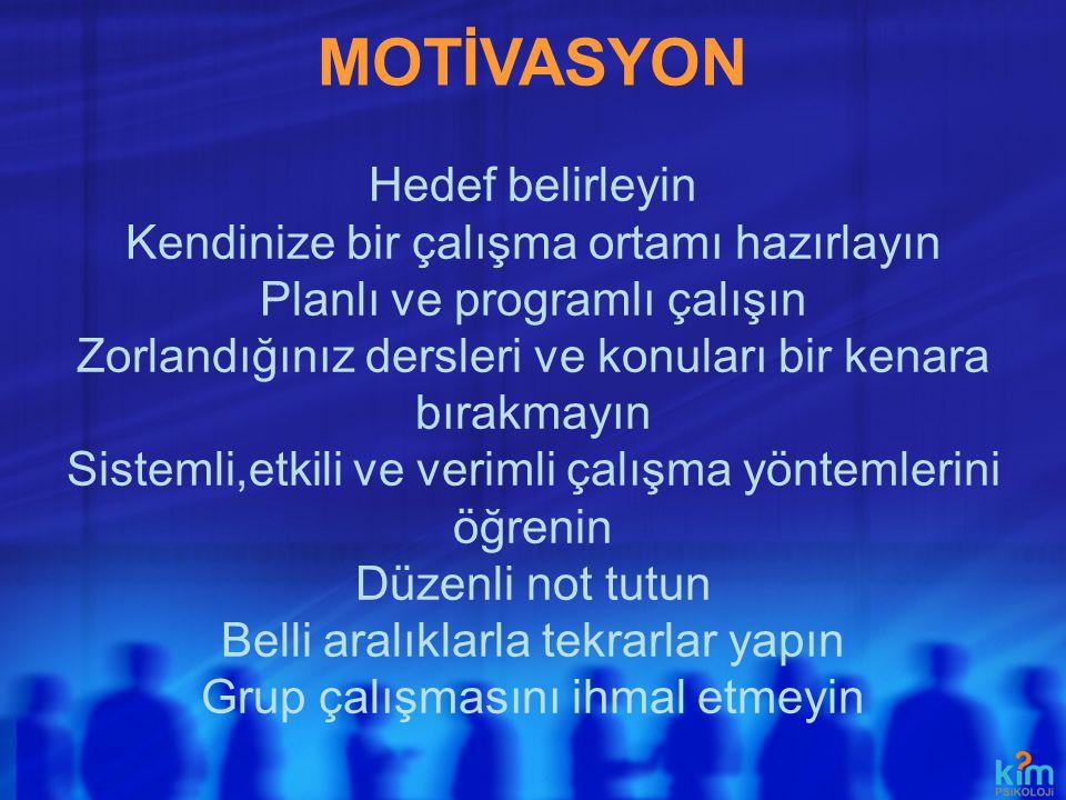 MOTİVASYON Hedef belirleyin Kendinize bir çalışma ortamı hazırlayın Planlı ve programlı çalışın Zorlandığınız dersleri ve konuları bir kenara bırakmay