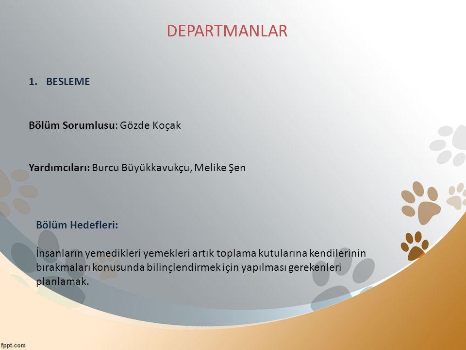 DEPARTMANLAR 1.BESLEME Bölüm Sorumlusu: Gözde Koçak Yardımcıları: Burcu Büyükkavukçu, Melike Şen Bölüm Hedefleri: İnsanların yemedikleri yemekleri art